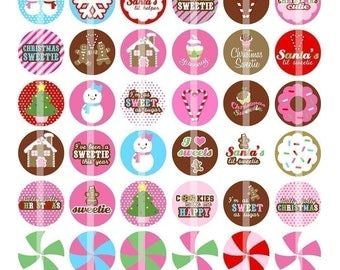 Christmas Sweetie - 1 Inch Round Digital Collage Sheet for making Bottle Cap Pendants, Hair bow Centers,Cupcake toppers, Stickers - Download