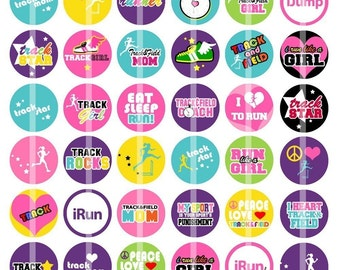 Track and Field Star - 1 inch Round - Digital Collage Sheet for Bottle Cap Pendants, Hair bow Centers, Cupcake toppers, etc.