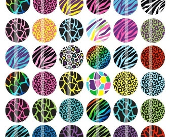 Fun Animal Prints - 1 inch Round - Digital Collage Sheet for making Bottle Cap Pendants, Hair bow Centers, Buttons,  Cupcake toppers, etc.