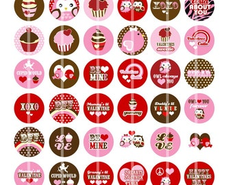 Sweets and Love Birds - 1 Inch Round - Digital Collage Sheet Bottle Cap Pendants, Hair bow Centers, etc.