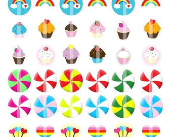 Rainbow Yummies - 1 inch Round - Digital Collage Sheet for making Bottle Cap Pendants, Hair bow Centers,  etc