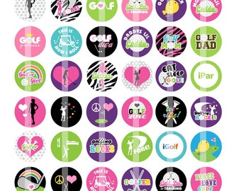 Golf Images - 1 Inch Round - Digital Collage Sheet for making Bottle Cap Pendants, Hair bow Centers, Cupcake toppers, etc.