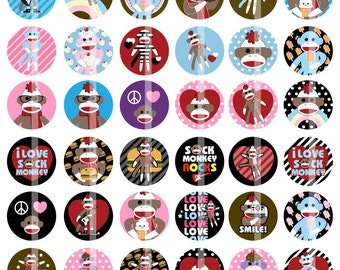 Kawaii Sock Monkey images - 1 Inch Round - Digital Collage Sheet Bottle Cap Pendants, Hair bow Centers, Reels, Cupcake toppers, etc.