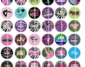 Gymnastics are Awesome- 1 inch Round - Digital Collage Sheet for Bottle Cap Pendants, Hair bow Centers, Reels, Cupcake toppers, etc.
