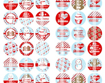 Lovely Christmas - 1 Inch Round - Digital Collage Sheet for making Bottle Cap Pendants, Hair bow Centers,Cupcake toppers - Instant Download