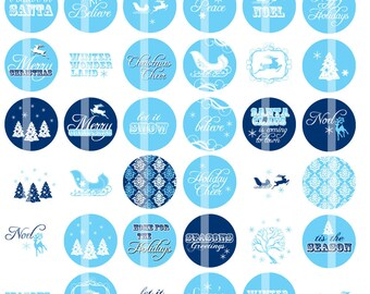 Blue and White Christmas Cheer- 1 Inch Round - Digital Collage Sheet for making Bottle Cap Pendants, Hair bow Centers - Instant Download