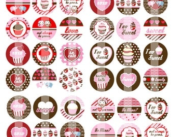 NEW- Sweet Sayings - 1 Inch Round - Digital Collage Sheet Bottle Cap Pendants, Hair bow Centers, etc.