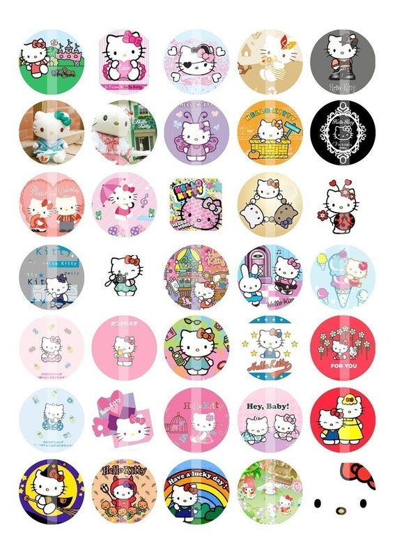 Hello Kitty Bottle Cap Images - 1 inch round - Collage Sheet (D)