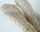 Sukan / Natural hand knit wool socks - lace socks - mens socks - women combat boots - Unisex adults - knit leg warmer boot sock