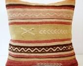 Sukan / Hand Woven - Turkish Cicim Kilim Pillow Cover - 16x16