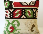 Sukan / SOFT Hand Woven - Turkish Antique Kilim Pillow Cover - 16x16