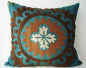 Sukan / Vintage Hand Embroidered Suzani Pillow Cover - 24x24