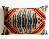 Sukan / SALE - Soft Hand Woven - Silk Velvet Ikat Pillow Cover - 14x22 inch - Beige Red Turquoise