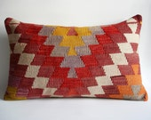 Sukan / Hand Woven - Turkish Kilim  Pillow Cover - 24x16 inch