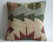 Sukan / Handwoven Vintage Turkish Kilim Pillow Cover, Decorative Pillows, Accent Pillow, Throw Pillow, 16x16 inch