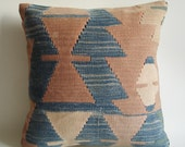 Sukan / Hand Woven - Turkish Antique Kilim Pillow Cover - 16x16