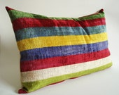 Sukan / SALE - Soft Hand Woven - Silk Velvet Ikat Pillow Cover - 16x24 inch - Green, Dark Red, Beige, Blue Purple, Yellow, Blue Color