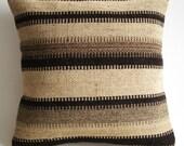 Sukan / Hand Woven - Turkish Antique Goat Hair Kilim Pillow Cover - 16x16 inch