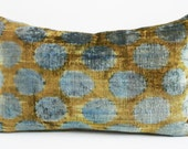 Sukan / SALE, Decorative Pillow,Throw Pillow Cover, ikat Velvet Pillow Cover, 14x24 inch Blue, Mustard Color