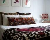 Sukan / Bolster Pillows - Body Pillows - Large - Large Bolster Pillows -Handmade Long Silk Velvet Ikat Pillow Cover - 15x40 inch