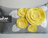 Sukan / ROSE  Linen Pillow Cover - Lumbar Pillow - Gray linen Pillow - Roses Pillow - Yellow Pillow - 12x20 Pillow Cover