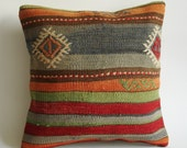 Sukan / Handwoven Vintage Turkish Striped Kilim Pillow Cover, Decorative Pillows, Accent Pillow, Throw Pillow,  16x16 inch Orange, Pink