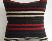 Sukan / Hand Woven Vintage Turkish Striped Kilim Pillow Cover, Decorative Pillows, Throw Pillow,  16x16 inch, Black, White, Red, Brown