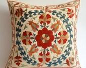 Sukan / Vintage Hand Embroidered Silk Suzani Pillow, Organic Modern Bohemian Throw Pillow.