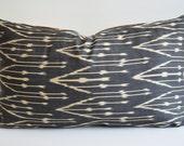 Sukan / Hand Woven Original Organic, Lumbar Silk ikat Pillow Cover - Black, Dark Gray, Ivory Color