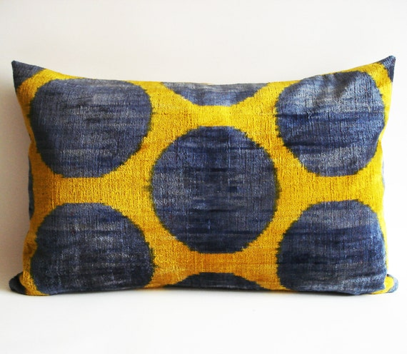 Soft Yellow Decorative Pillow : NEW Silk Velvet Ikat Pillow Navy Blue Yellow Soft by sukan