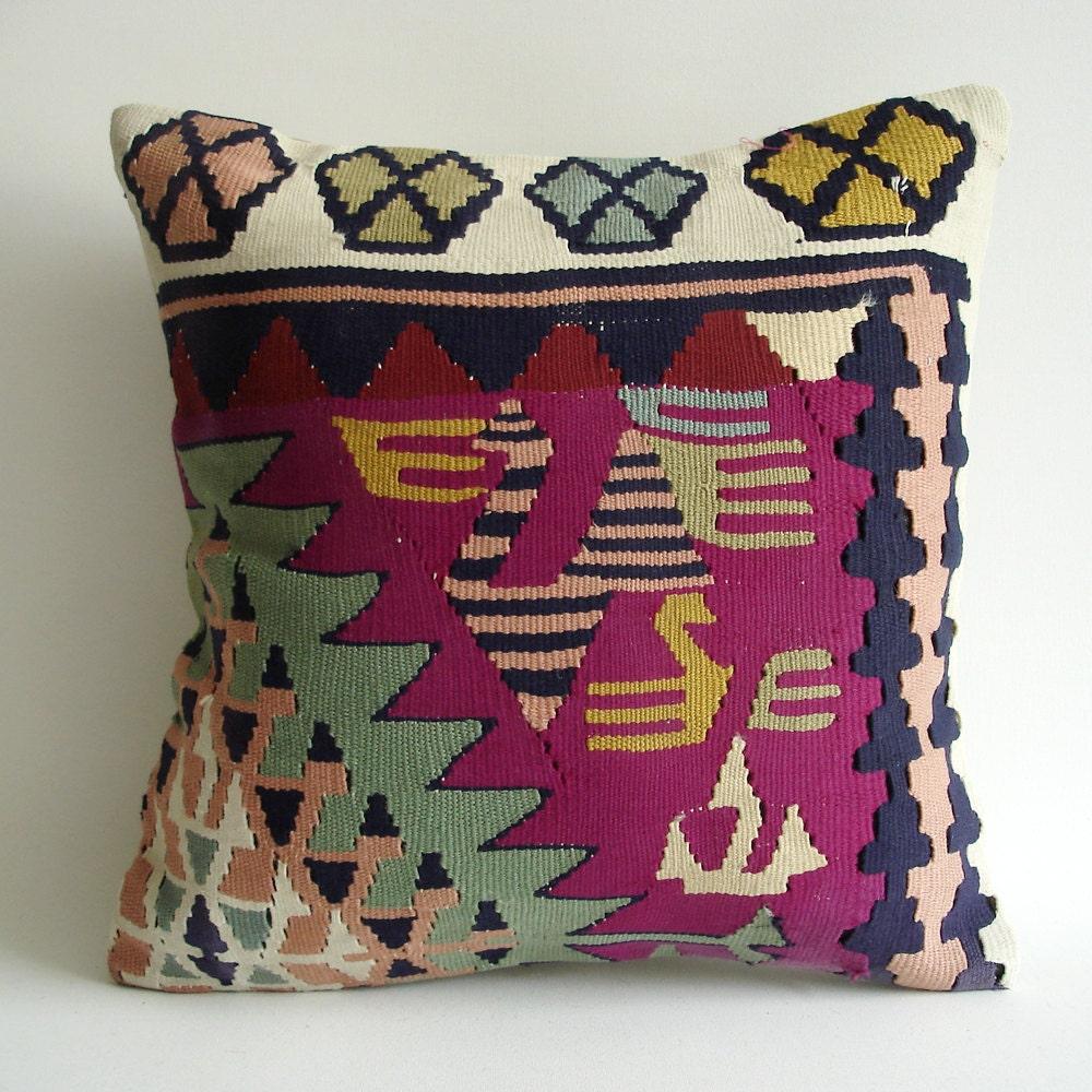 Sukan / Modern Bohemian Throw Pillow. Handwoven Wool by sukan