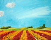 Oil painting Dutch Landscape Tulipfields in red and yellow in the Netherlands