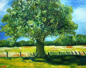 Oak Tree Oil painting Dutch Landscape 50 x 60 cm