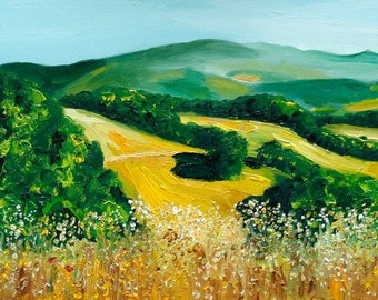 Tuscany Oil painting 30 x 90 cm, 11 x 35 inches original painting