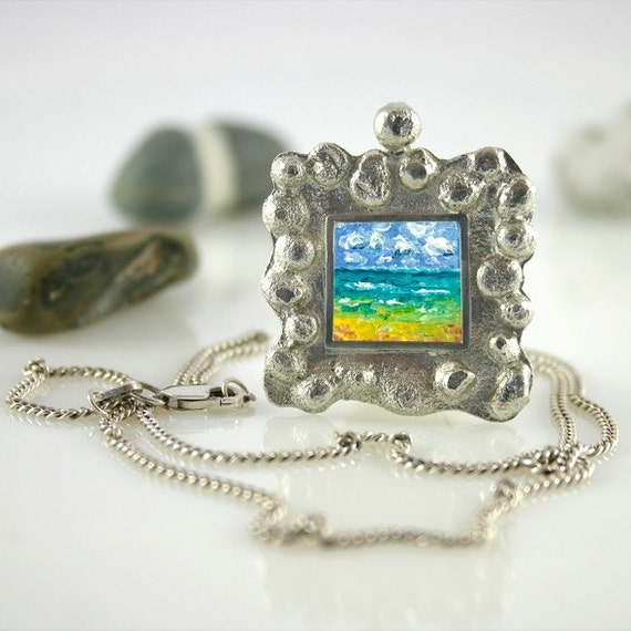 Seascape Handmade sterling silver modern pendant with original oil painting with silver chain