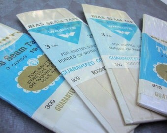 seam binding BIAS TAPE --white tones-- 4 packages (vintage and contemporary)