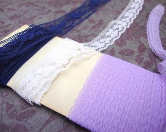 LACE navy blue, white, lavender (approximately 7 yards total)