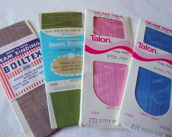 seam binding BIAS TAPE --rayon- blue, rose, avocado, brown --4 packages (vintage and contemporary)