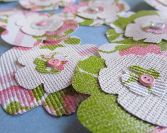 eco friendly FLOWER EMBELLISHMENTS made from vintage wallpaper (lot of 16)
