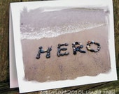 Beach themed cards for heroes- Patriotic HERO Cards, Veteran, Brave Military, 9/11, positive word art,  beach stones, Dad card, beach cards