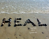Beach Inspired HEAL Sentiment Photo 5x7 with Mat- good health beach wish, healing word created with beach stones, beach photography, doctor