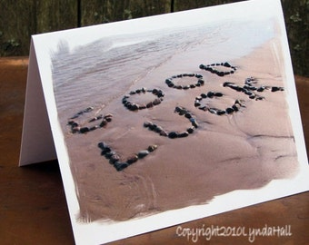GOOD LUCK Note Cards Set of 3- beach theme cards, encouraging words created with beach stones, graduation card, cards for summer, new career