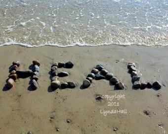 Beach Inspired HEAL Sentiment Photo 5x7 with Mat- good health beach wish, healing word created with beach stones, beach photography, doctor