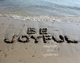 Beach Theme BE JOYFUL Word Photo 5x7 with Mat- happy sentiment created with natural beach stones in the sand, beach wish holiday words photo