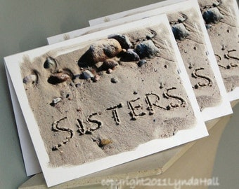Beach Theme Sisters Note Card Set of 3- sisters spelled out in the sand, beach writing, beach words, card for sister, unique beach cards