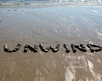 Beach Sentiment UNWIND Photo 5x7 with Mat- relaxing word spelled out with beach stones in the sand, Beach theme word art photo, beach decor