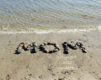 Beach theme gift for Mom, Mother's Day MOM Photo 5x7 with Mat- word spelled with beach stones, beach writing, coastal art, beach photography