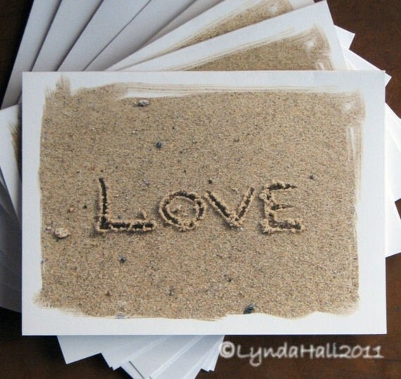 Beach Theme Card Stock: Beach Theme Valentine Love Written In The Sand By