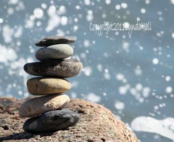 Beach Photography- beach stones, coastal art, cairn tower of rocks, water droplets, blue skies, beach theme photo, blue wall art, zen, ocean