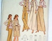 Butterick 6877 Vintage Sewing Pattern - 1970s - Vest Skirt Pants and Blouse - Size 12 Bust 34